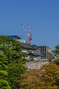 春の江戸城の富士見櫓の風景の写真素材 [FYI01256158]