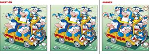 間違い探しクイズ「ペンギンのドライブのイラスト素材 [FYI01256318]