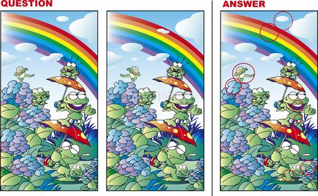 間違い探しクイズ「カエルと虹と紫陽花」のイラスト素材 [FYI01256456]
