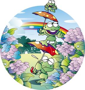 雨上がりのカエルの家族のイラスト素材 [FYI01256485]
