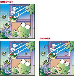間違い絵探しクイズ「カエルの天気予報」のイラスト素材 [FYI01256624]