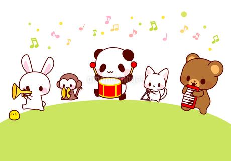 うさぎ猿パンダ猫くま・かわいい動物演奏会のイラストのイラスト素材 [FYI01256707]