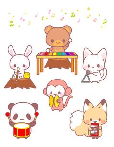 パンダうさぎくま猫猿きつねひよこ・かわいい動物演奏会のイラストのイラスト素材 [FYI01256708]