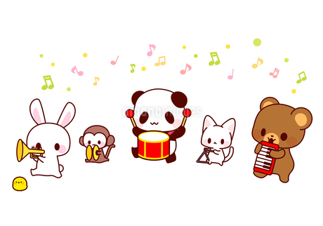 パンダうさぎくま猫猿ひよこ・かわいい動物演奏会イラストのイラスト素材 [FYI01256710]