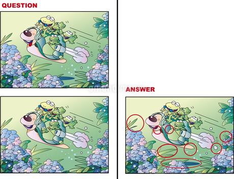 間違い絵探しクイズ「カエルとカタツムリ」のイラスト素材 [FYI01256745]