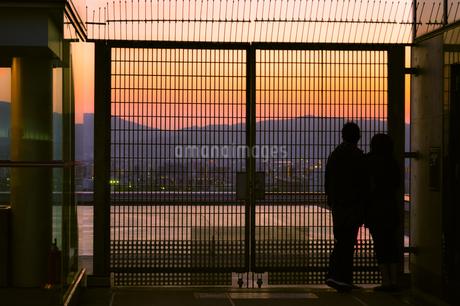 フェンス越しに夕焼けを眺めるカップルの写真素材 [FYI01256874]