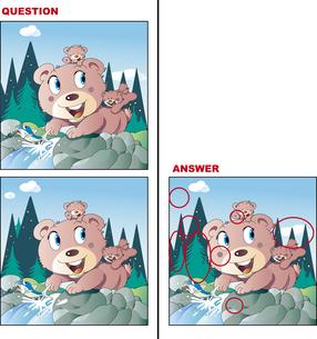 間違い探しクイズ、クマと魚のイラスト素材 [FYI01256891]
