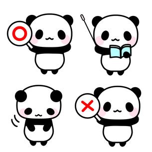 ◯×札・指示棒で解説するパンダ先生イラストのイラスト素材 [FYI01257286]