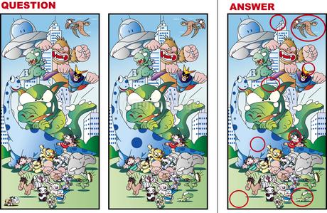 間違い絵探しクイズ、モンスターがやってくるのイラスト素材 [FYI01257424]