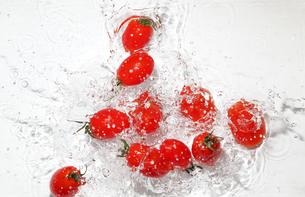 水中のミニトマトの写真素材 [FYI01257850]