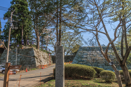 春の盛岡城の風景の写真素材 [FYI01258374]