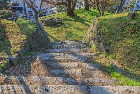 春の盛岡城の榊山稲荷曲輪の風景の写真素材 [FYI01258817]
