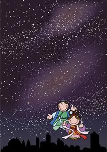 七夕祭りの銀河の背景のイラスト素材 [FYI01258964]