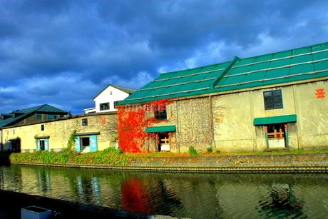 北海道、小樽運河秋の風景の写真素材 [FYI01259045]