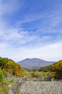 秋色の蔵王とやまびこ吊り橋付近の写真素材 [FYI01259346]