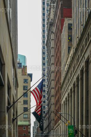 ニューヨーク・ウォール街と星条旗の写真素材 [FYI01259751]
