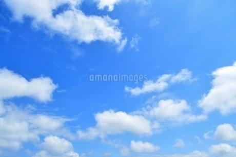 青い空にふわふわの白い雲 コピースペースの写真素材 [FYI01259814]