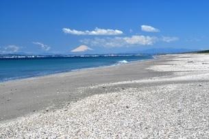 海 富士山 青い空 広い砂浜 コピースペースの写真素材 [FYI01259816]