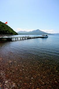 北海道支笏湖の春の風景の写真素材 [FYI01260184]