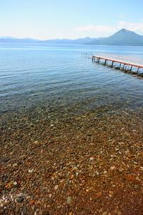 北海道支笏湖の春の風景の写真素材 [FYI01260190]
