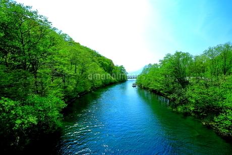 早春の北海道支笏湖の風景の写真素材 [FYI01260251]