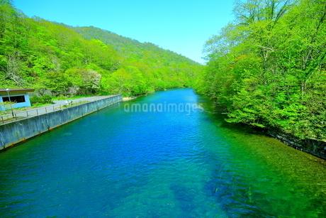 早春の北海道支笏湖の風景の写真素材 [FYI01260253]