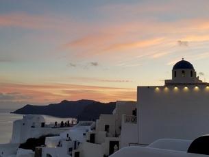 サントリーニ島 イアの夕暮れ santorini oiaの写真素材 [FYI01260255]