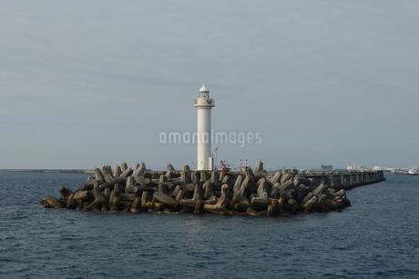 防波堤の灯台の写真素材 [FYI01260339]