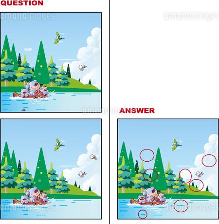 間違い絵探しクイズ「熊がカヌーでお出かけ」のイラスト素材 [FYI01260478]