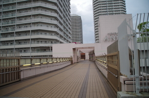 JR東戸塚東口前商業施設から平戸に抜ける屋上通路の写真素材 [FYI01260846]