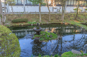 春の盛岡城の水堀の風景の写真素材 [FYI01261051]