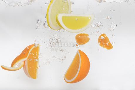 水中のオレンジとレモンの写真素材 [FYI01261316]