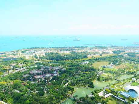 シンガポール マリーナベイサンズからの景色の写真素材 [FYI01261356]