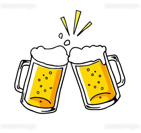 ビールで乾杯!アイコン 手描き線画のイラスト素材 [FYI01261970]