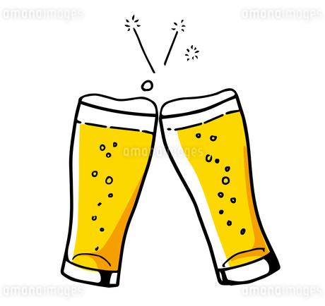 ビールで乾杯!アイコン 手描き線画のイラスト素材 [FYI01261971]