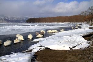 厳寒の北海道凍りつく屈斜路湖の写真素材 [FYI01262889]