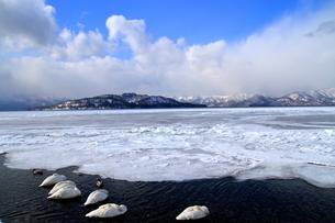 厳寒の北海道凍りつく屈斜路湖の写真素材 [FYI01262896]