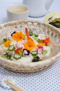 夏の素麺~エディブルフラワー添えの写真素材 [FYI01262946]