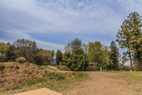 春の箕輪城の土橋の風景の写真素材 [FYI01263190]