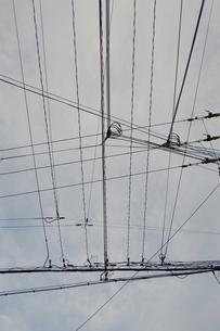 複雑に交差した電線の写真素材 [FYI01263209]