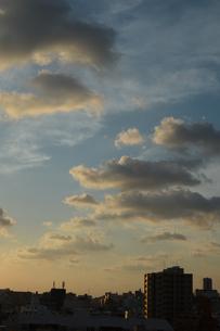 夕焼けとシルエットの都会の建物の写真素材 [FYI01263342]