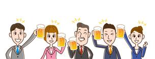 ビールで乾杯 サラリーマンたちのイラスト素材 [FYI01263350]