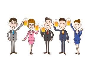 ビールで乾杯 サラリーマンたちのイラスト素材 [FYI01263353]