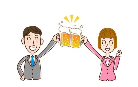 ビールで乾杯 男性と女性のイラスト素材 [FYI01263354]