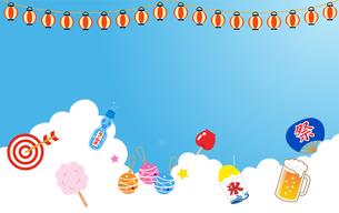 夏の入道雲と夏祭りアイコンのイラスト素材 [FYI01263504]