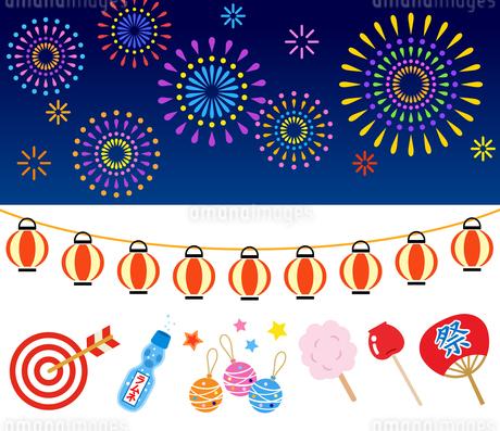 日本の夏祭りと花火のイラスト素材 [FYI01263536]