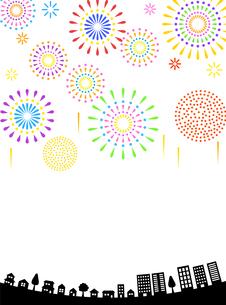 花火と街並み 背景素材のイラスト素材 [FYI01263559]