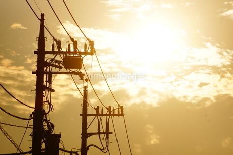 夕暮れと電線シルエットの写真素材 [FYI01263608]