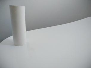 白いトイレとトイレットペーパーの芯の写真素材 [FYI01263635]