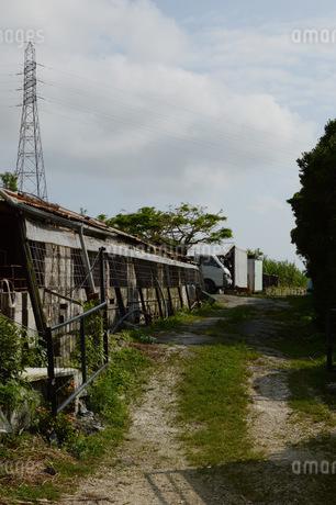 田舎の家畜小屋と轍の写真素材 [FYI01263949]